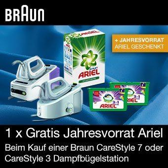 Gratis Jahresvorrat ARIEL beim Kauf einer Braun CareStyle 7 oder CareStyle 3 Dampfbügelstation