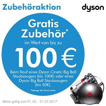 Gratis Zubehör im Wert von bis zu 100 € beim Kauf eines Dyson Big Ball Staubsaugers.