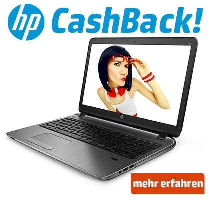 Jetzt HP Notebook kaufen und € 50,- CashBack kassieren.