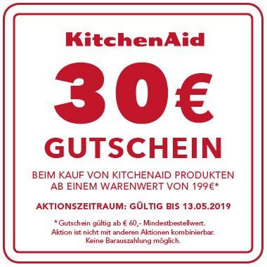 Jetzt KitchenAid Produkt ab € 199,- kaufen und Gutschein im Wert von € 30,- für ein weiteres KitchenAid Produkt sichern!