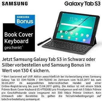 Samsung Bonus - Jetzt Samsung Galaxy Tab S3 vorbestellen!