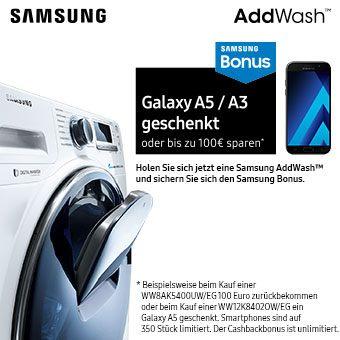 Holen Sie sich jetzt eine Samsung AddWash™ und sichern Sie sich den Samsung Bonus.