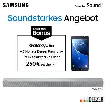 Jetzt Soundbar Sound+ holen und Galaxy J5 (2016) sowie 3 Monate Deezer Premium+ Musik-Streaming geschenkt* bekommen.
