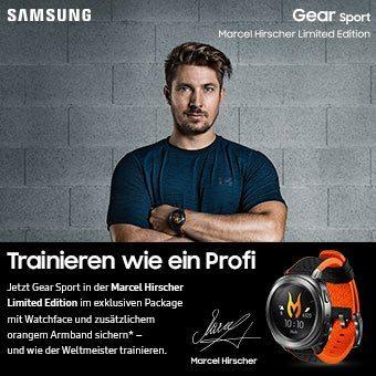 Jetzt Gear Sport in der Marcel Hirscher Limited Edition im exklusiven Package mit Watchface und zusätzlichem orangem Armband sichern* – und wie der Weltmeister trainieren.