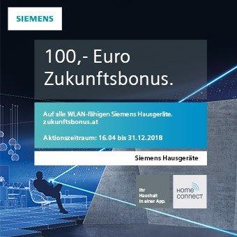 100,- Euro Zukunftsbonus auf alle WLAN-fähigen Siemens Hausgeräte sichern.