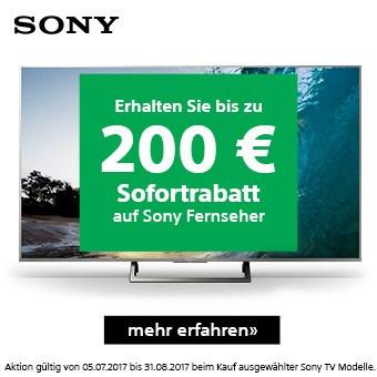 Jetzt bis zu 200 Euro Sofortrabatt beim Kauf ausgewählter Sony TV Modelle!