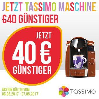 Sparen Sie jetzt € 40,- beim Kauf einer neuen Bosch Tassimo Kapselmaschine