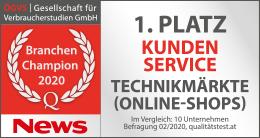 ÖGVS Branchenchampion Technikmärkte Onlineshops 2020